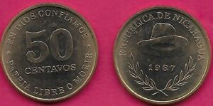 NICARAGUA 50 CENTAVOS 1987 UNC 1 YEAR TYPE,HAT ABOVE DATE AND SPRIGS,VALUE,MEDAL