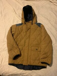 BOYS GYMBOREE SZ L 10-12 BROWN PUFFY HOODED JACKET COAT 100% POLYESTER