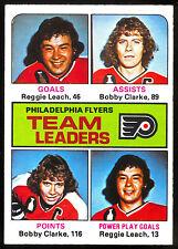 1975-76 OPC O PEE CHEE #325 REG LEACH BOBBY CLARK NM PHILADELPHIA FLYERS LEADERS