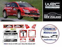 Decals Citroën C4 WRC Loeb / Elena rallye de Nouvelle Zélande 2007 1/43e