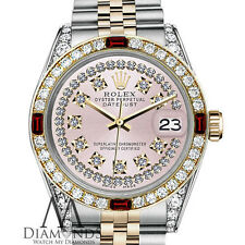 Ladies Rolex 26mm Datejust 2Tone Pink String Vintage Dial with Ruby & Diamonds