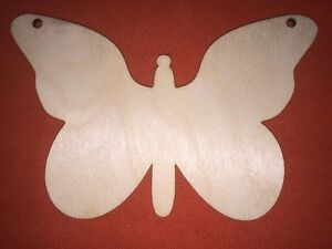 10 large BUTTERFLY TAGS WOODEN SHAPE  EMBELISHMENTS HANGING GIFT  BLANKS CRAFT