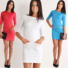 Women's Classic & Elegance Shift Dress with Pockets Tunic Style  Size 8-16 FA210
