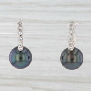Gray Cultured Pearl Diamond Drop Earrings 14k White Gold Pierced Hook Posts