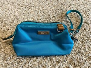 RARE TUMI TURQUOISE NYLON BOX SHAPED STRUCTURED WRISTLET WALLET CLUTCH BROWN HTF