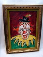 CHESTER ROSEEN Clown Painting Oil on Canvas Vintage w/ Bio Paperwork attached