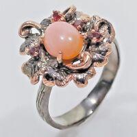 Anello in Argento Sterling 925 Opale Rosa Rubini Oro Rosso Rodiatura Nera