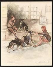 BORDER COLLIE OLD ENGLISH SHEEPDOG GIRL AND BOY VERNON STOKES 1940'S DOG PRINT