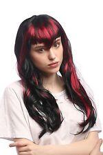 Wig Ladies Halloween Fringe Black Red Streaks Bad Fee Witch Goth Vampire