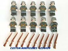 10pc Ger man Soldier Set Army Military WWII Custom Minifigure + FREE LEGO BRICK