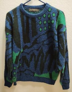 Vintage 80s Sergio Valente Coogi Style Grandpa Sweater, Made in USA Men's Large