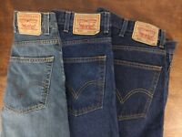 3 Pair Mens Levis Jeans 505 559 Dark Med Washes Size 42 X 32 (ACTUAL 42 X 31)