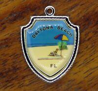 Vintage silver DAYTONA BEACH UMBRELLA FLORIDA STATE TRAVEL SHIELD charm #E14