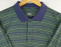 UNDER ARMOUR Size Large Mens Lime Green Striped Golf/Casual Polo Shirt Mens
