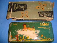 Old Vintage Tin TITONI   co. Mathematical Instruments set  Compass Box from Indi