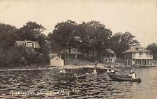 WHITE LAKE Michigan postcard USA RPPC Oakland County Murray's Inn boating