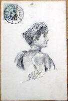 1906 Hand-Drawn/Original Art, Artist-Signed Postcard: Woman's Bust in Ink