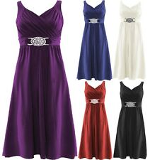 Women Ladies Plus  Buckle Tie Back Cross Wrap Over Cocktail Evening Party Dress