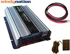 VertaMax 1500 Pure Sine Power Inverter DC to AC Car, RV + 2 AWG Cables + Remote