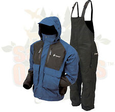 M Frogg Toggs Blue/Black Firebelly Jacket & Black Toadskin Bibs Rain Suit