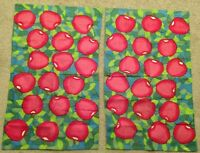 """(2) Apple/Fruit Cloth/Textile Place/Table Mats/Runners/Covers-Red/Green-16 x 26"""""""