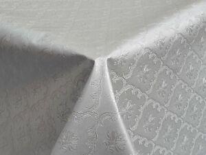 WIPE CLEAN RAAJ SILVER GREY DAMASK FLORAL PVC OIL VINYL TABLE CLOTH TEXTURED