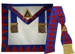 Lambskin Leather Masonic Royal arch provincial apron and sash+Free Cotton Gloves