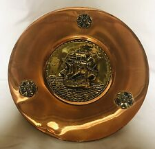 Linton Made In England Rare Copper And Brass Set of 2 Antique plate Chargers