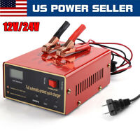 Car Truck Maintenance-Free Lead-Acid Battery Charger Power Pulse Repair 12V/24V
