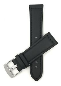 Black Leather Watch Strap Band, 20 - 28mm fits Fossil, Citizen, MVMT & More