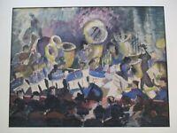 WPA ERA 1930'S ORIGINAL PAINTING CLUB BAR MUSICIANS CONCERT BAND MODERNISM JAZZ