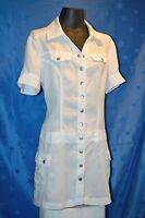 Leinenkleid -  Kleid - Sommer - Hemd Bluse - Gr. 38 - Street One - weiß - A-Form
