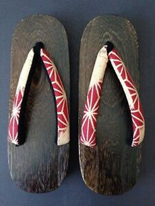 "Japanese Women's Wooden Geta Sandals 9.75"" Geisha Yukata Kimono Shoes Asanoha"