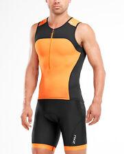 New 2XU Active Men Tri Singlet Black Orange Triathlon Top Cycling Swim Running