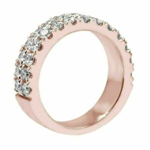 1.15 CT Two Row Diamond Wedding Band in 18k Rose Gold NEW
