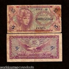 USA UNITED STATES 5 CENTS P M57 1965 MPC SER.641 EAGLE MILITARY CURRENCY NOTE