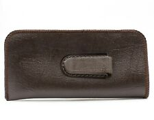 NEW Soft Eyeglasses Reading Glasses Case Pouch Dark Brown Faux Leather with Clip