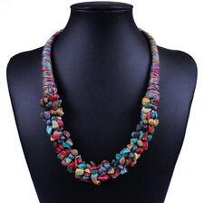 Bohemia Fashion Women Stone Beads Statement Choker Chunky Rope Chain Necklace