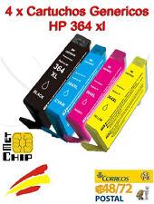 4X Cartuchos Genericos CON CHIP para Hp impresoras 3070, 3070A, 3520 Hp364 XL