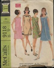 "McCall's 9118 Sewing Pattern Misses' ""Wrap-Arounder"" Dress Size 16½  VTG '67 UC"