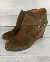 Lucky Brand Women's 7.5 Brown Leather Sumarah Spring Wedges Ankle Booties Boots