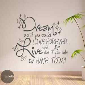 Dream If You Could Live Forever Live If You Only Have Today Vinyl Wall Decal