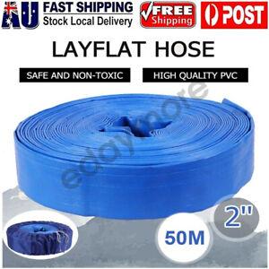 50m 2'' 50mm PVC Layflat Water Watering Hose Pump Transfer Lay Flat Discharge