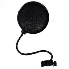 Pop Filter Shield Studio Microphone w/Stand Clip Blue Yeti Microphones (Black)
