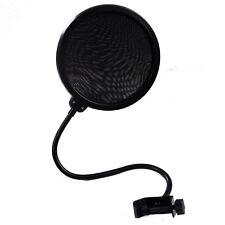 Pop Filter Shield Studio Microphone w/Stand Clip Blue Yeti Microphones (Black)
