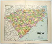 Original 1895 Map of North & South Carolina by Hunt & Eaton