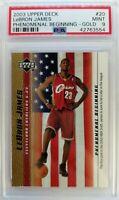 2003-04 Upper Deck Phenomenal Beginning Gold LeBron James Rookie RC #20, PSA 9