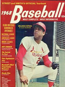 1968 Street & Smith Baseball Magazine Orlando Cepeda St. Louis Cardinals