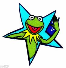 """New listing 3"""" Muppets kermit waving in a blue star fabric applique iron on character"""