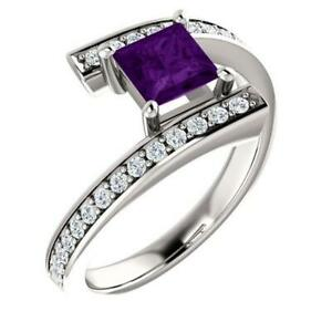 14K White Gold Amethyst and 1/4 CTW Diamond Bypass Ring Size 7